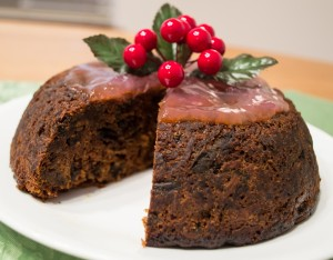Steamed Christmas Pudding with Apple-Brandy Sauce